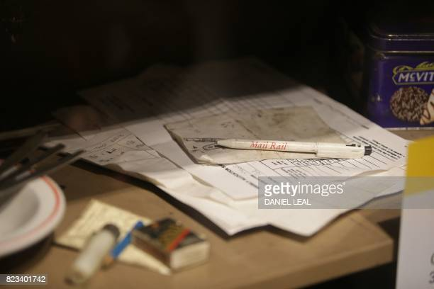 01 GMT / A Royal Mail pen is seen inside a display cabinet untouched since the 30th May 2003 the last day for workers at the Rail Mail tunners during...