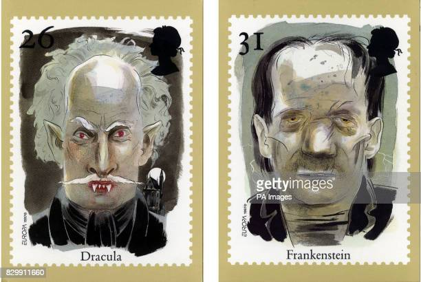 Royal Mail stamps of Dracula and Frankenstein which will be released on May 13 to coincide with the bicentenary of the birth of Mary Shelley author...
