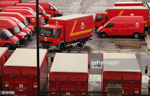 Royal Mail van driven by managerial staff leaves the Mount Pleasant sorting office on the first day of a 48 hour nationwide postal strike called by...