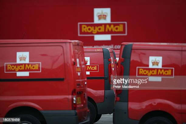 Royal Mail vans and lorries are parked up at the Mount Pleasant sorting office on September 12 2013 in London England The Royal Mail will be...