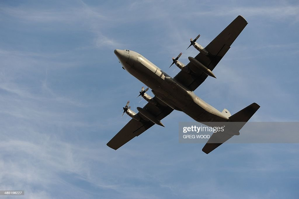 A Royal Malaysian Air Force C130H Hercules aircraft takes off from Pearce Airbase in Bullsbrook 35 kms north of Perth to help in the search for...