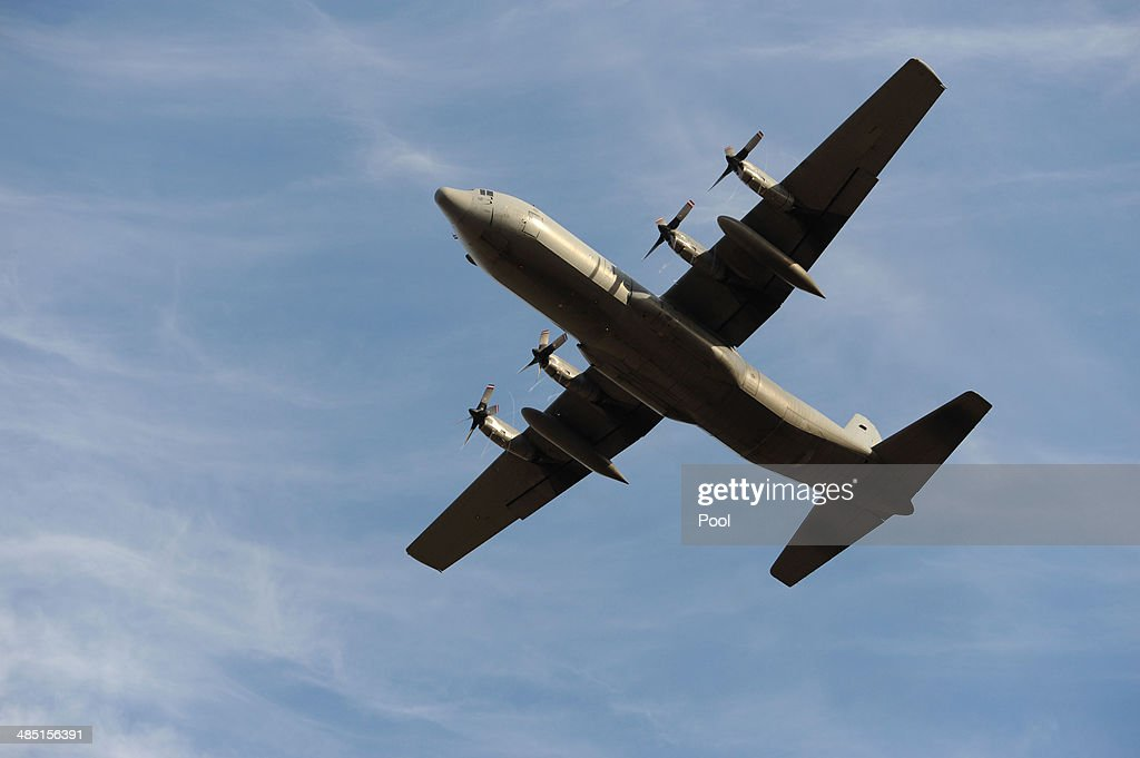 Royal Malaysian Air Force C130H Hercules aircraft takes off from Pearce Airbase in Bullsbrook 35 kms north of Perth to help in the search for missing...