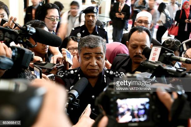 Royal Malaysian Police chief Khalid Abu Bakar speaks to members of the media after a event in Putrajaya on March 16 2017 Interpol has issued an...