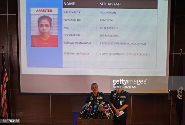 Royal Malaysian Police deputy inspectorgeneral Noor Rashid Ibrahim speaks about detained Indonesian suspect Siti Aisyah during a press conference as...