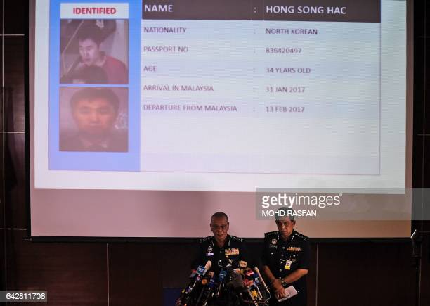 Royal Malaysian Police deputy inspectorgeneral Noor Rashid Ibrahim speaks about North Korean suspect Hong Song Hac during a press conference as...
