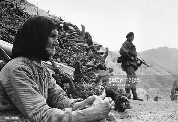 Royal Marine commandos and two companies of the Gordon Highlanders conduct a search of Milikouri village and the nearby Kykko Monastery for members...