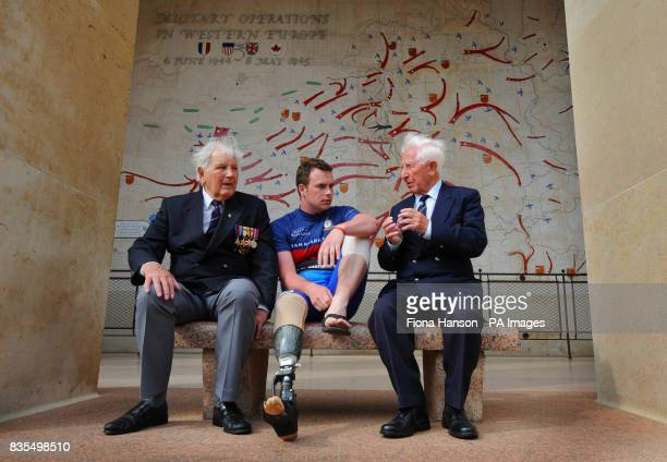 Royal Marine Lance Corporal Matt Kingston from Colchester who lost a leg after being shot through the ankle in Afghanistan with Omaha DDay veterans...