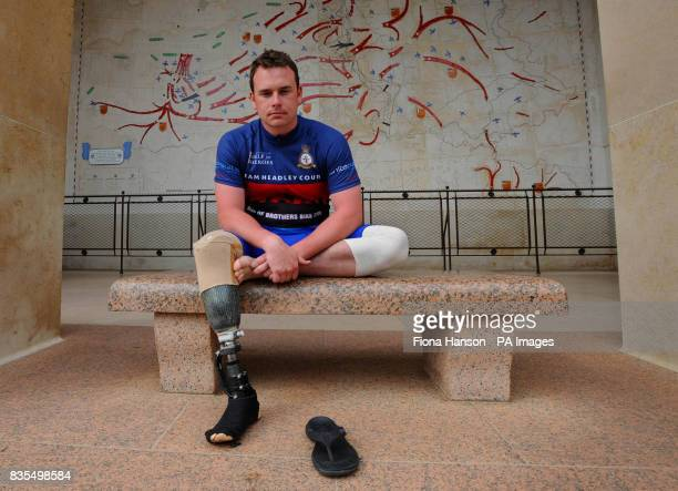 Royal Marine Lance Corporal Matt Kingston from Colchester who lost a leg after being shot through the ankle in Afghanistan at the US Cemetary and...