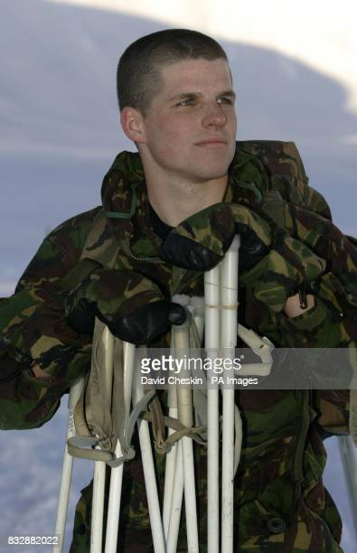 Royal Marine Reserve Commando Marine Dan Smith from Newcastle who along with other RMRs from around the UK in Vinje Southern Norway as they undergo...
