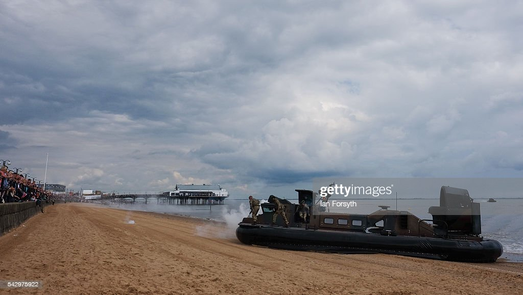 Royal Marines Commandos use a hovercraft as part of a beach assault display during the Armed Forces Day National Event on June 25, 2016 in Cleethorpes, England. The visit by the Prime Minister came the day after the country voted to leave the European Union. Armed Forces Day is an annual event that gives an opportunity for the country to show its support for the men and women in the British Armed Forces.