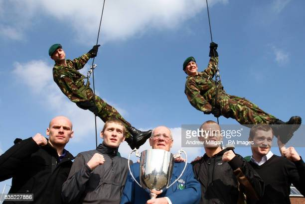 Royal Marines jump off Finnieston Crane to deliver the names in the Prizefighter boxing lightweight series draw to former Olympic lightweight...