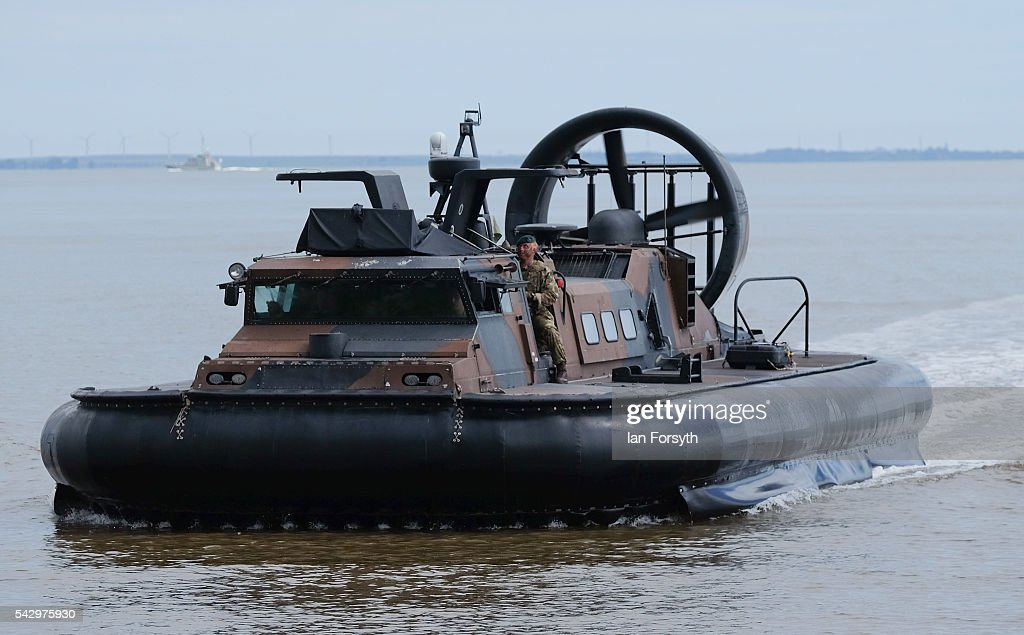 Royal Marines use a hovercraft during a beach assault demonstration during the Armed Forces Day National Event on June 25, 2016 in Cleethorpes, England. The visit by the Prime Minister came the day after the country voted to leave the European Union. Armed Forces Day is an annual event that gives an opportunity for the country to show its support for the men and women in the British Armed Forces.