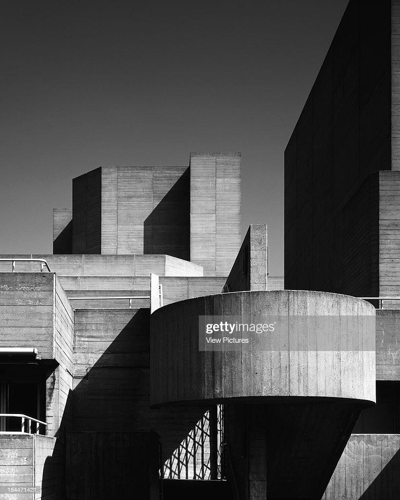 Royal National Theatre, London, United Kingdom, Architect Denys Lasdun, 1975, Royal National Theatre Composition Of Shapes On Western Evelevation