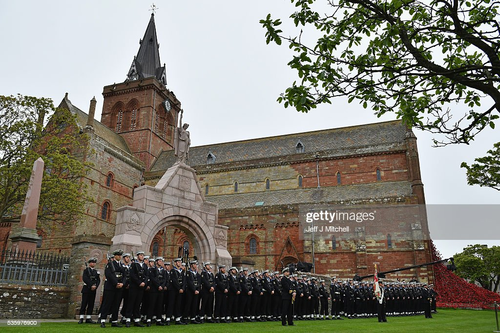 Royal Navy personnel attend the commemorations of the 100th anniversary of the Battle of Jutland at St Magnus Cathedral on May 31, 2016 in Kirkwall,Scotland. The event marks the centenary of the largest naval battle of World War One where more than 6,000 Britons and 2,500 Germans died in the Battle of Jutland fought near the coast of Denmark on 31 May and 1 June 1916.