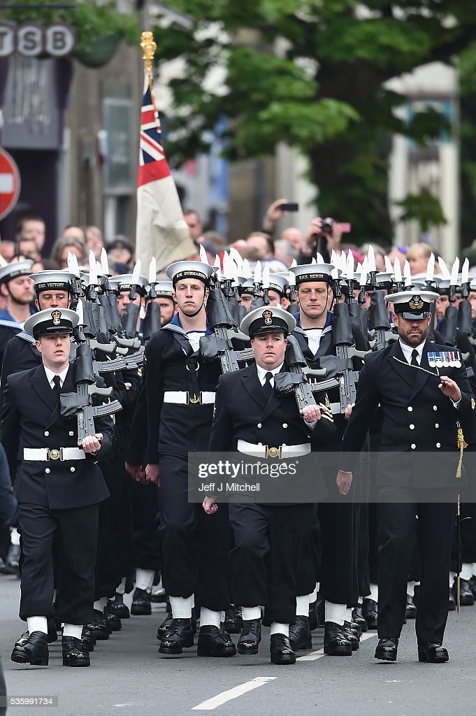 Royal Navy personnel attend the commemorations of the 100th anniversary of the Battle of Jutland at St Magnus Cathedral on May 31, 2016 in Kirkwall,Scotland. The event marks the centenary of the largest naval battle of World War One where more than 6,000 Britons and 2,500 Germans died in the Battle of Jutland fought near the coast of Denmark on 31 May and 1 June 1916