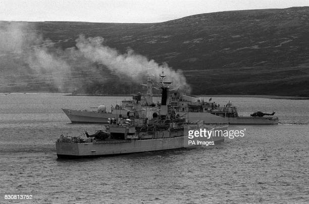 Royal Navy ship moored near HMS Antelope in Ajax Bay the day before she exploded and sank Antelope was hit by an Argentinian Exocet missile which...