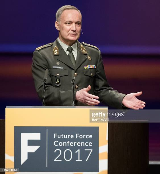 Royal Netherlands Army general Tom Middendorp holds the opening speech for the Future Force Conference an innovative international networking...