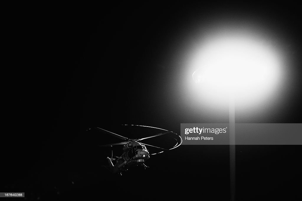 A Royal New Zealand Air Force helicopter approaches the field prior to the round 11 Super Rugby match between the Chiefs and the Sharks at Waikato Stadium on April 27, 2013 in Hamilton, New Zealand.