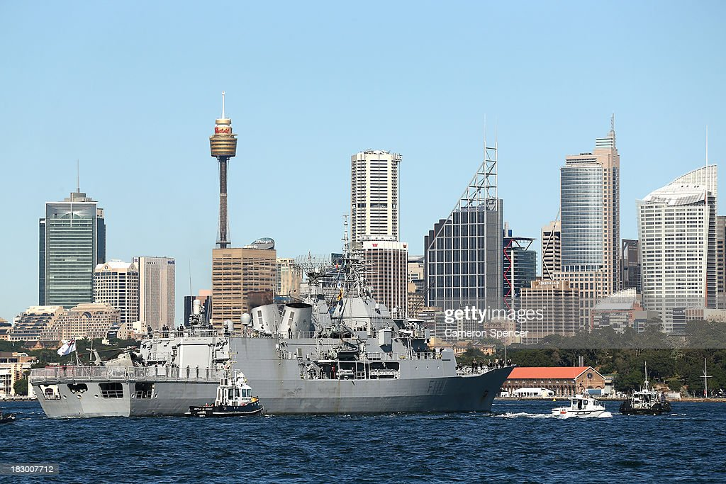 Royal New Zealand Navy warship, HMNZS Te Mana arrives in Sydney Harbour, on October 4, 2013 in Sydney, Australia. Over 50 ships will participate in the International Fleet Review at Sydney Harbour to commemorate the 100 year anniversary of the Royal Australian Navy's fleet arriving into Sydney. Prince Harry will take part in the fleet review during his two-day visit to Australia.