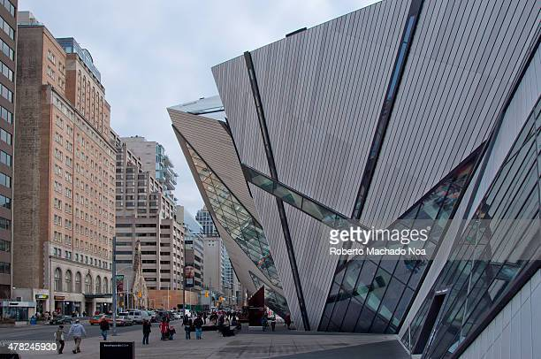 ROM TORONTO ONTARIO CANADA Royal Ontario Museum facade seen from the West the ROM is a museum of art world culture and natural history featuring...