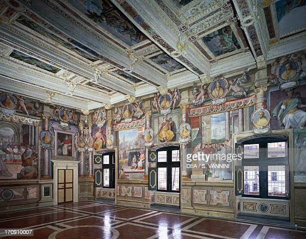 Royal or Hercules Hall with frescoes by Baldassare Croce depicting mythological scenes and historical events of the city of Viterbo wooden coffered...