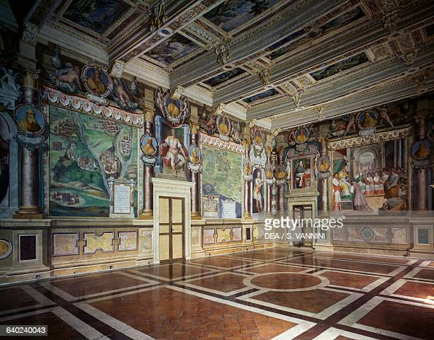 Royal or Hercules hall with frescoes by Baldassare Croce depicting mythological and historical scenes of the city of Viterbo wooden coffered ceiling...