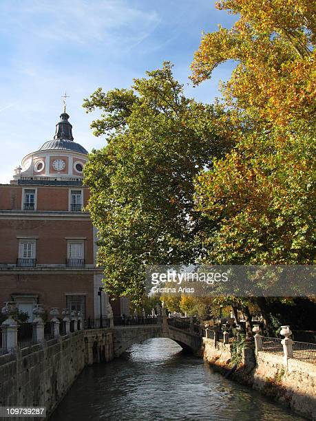 Royal Palace of Aranjuez channel of water in the Island Garden beside the Royal Palace of Aranjuez UNESCO World Heritage Site Aranjuez Madrid Spain...