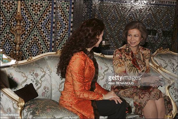 Royal Palace tea time Princess Lalla Salma and Queen Sofia in Marrakech Morocco on January 17 2005