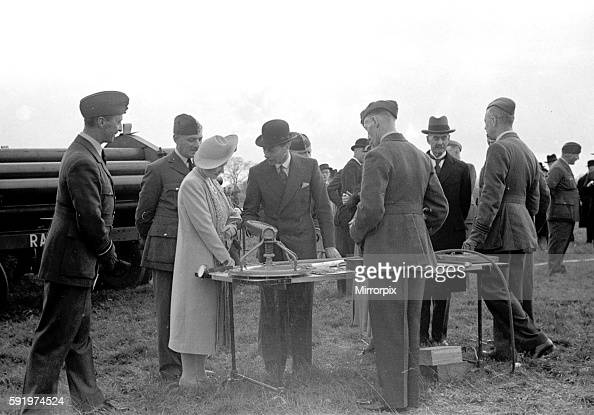 Royal Party at Hook Balloon Barrage with the King and Queen and Prime Minister Neville Chamberlain in attendance April 1939 1st april 1939