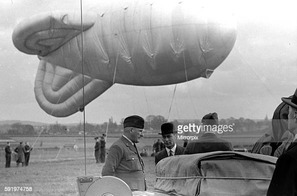 Royal Party at Hook Balloon barrage with The King and Queen and Prime Minister Neville Chamberlain in attendance April 1939 july 11 1932 july 11 1932...