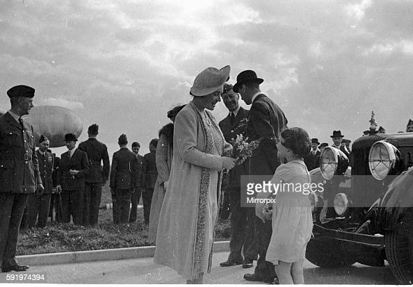 Royal Party at Hook Queen Elziabeth1 receives flowers from a young girl April 1939 1st april 1939