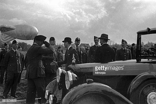Royal Party at Hook Surrey Balloon Barrage with Queen Elizabeth King George and Prime Minister Neville Chamberlain attending April 1939