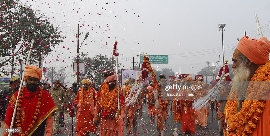 Royal Peshwai Juloos (procession) of Atal Akhada at the Sangam, confluence of the Rivers Ganges, Yamuna and mythical Saraswati on January 5, 2013 in Allahabad, India. Many Naga Sanyasis don't wear any cloth on their body. The Kumbh Mela is mass Hindu pilgrimage that alternates between four places Allahabad, Haridwar, Ujjain and Nashik every three years. The current Kumbh is scheduled to take place at Allahabad city in January and February 2013 and is expected to be attended by 60 million devotees