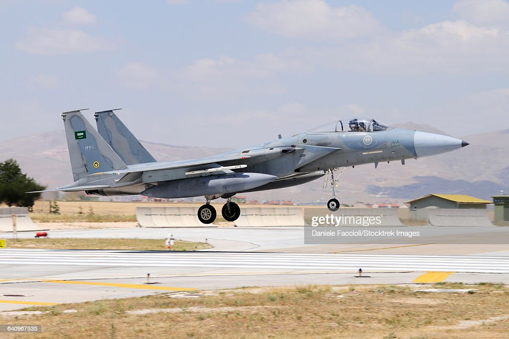 A Royal Saudi Air Force F-15C Eagle landing on the runway.
