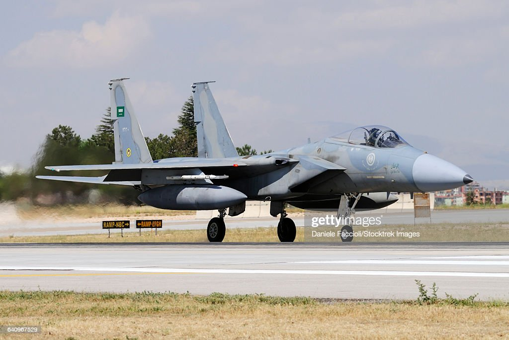 A Royal Saudi Air Force F-15C Eagle taxiing on the runway.
