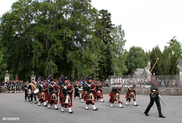 Royal Scots Borderers 1 Scots march through the gates of Balmoral ahead of an inspection by Queen Elizabeth II as she takes up summer residence there