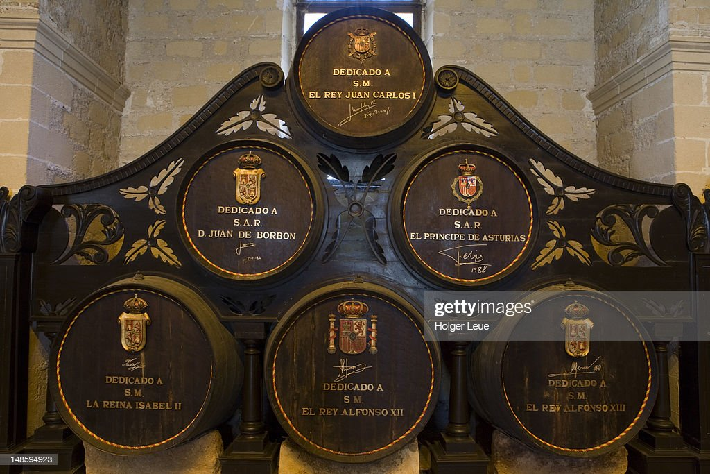 Royal sherry casks in cellar of Bodega Tio Pepe Gonzales Byass.