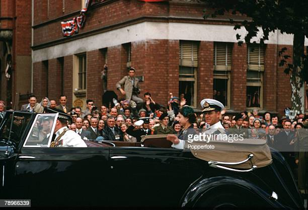 1954 Royal Tour of Australia Queen Elizabeth II and Prince Philip the Duke of Edinburgh are pictured in their car after leaving the Adelaide War...