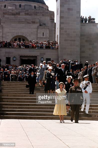 1954 Royal Tour of Australia Queen Elizabeth II and Prince Philip the Duke of Edinburgh are pictured visiting the Australian National War Memorial...