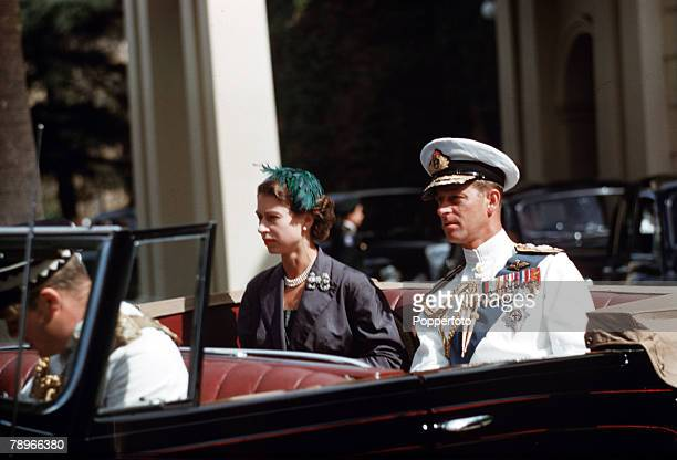 1954 Royal Tour of Australia Queen Elizabeth II and Prince Philip the Duke of Edinburgh are pictured in their car on the way to the Adelaide War...
