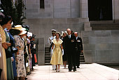 1954 Royal Tour of Australia Queen Elizabeth II and Prince Philip the Duke of Edinburgh are pictured passing the Pool of Reflection lined by...