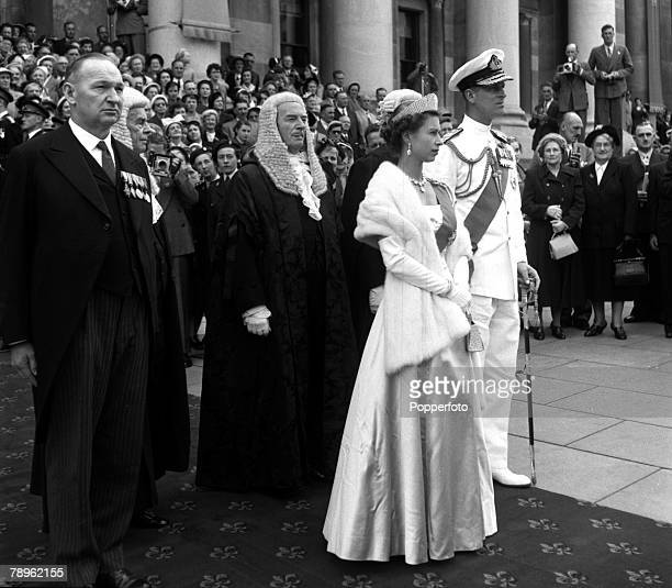 Royal Tour of Australia Queen Elizabeth II and the Duke of Edinburgh are pictured on arrival for the State Opening of Parliament at Parliament House...