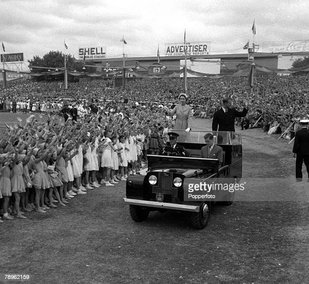 Royal Tour of Australia Queen Elizabeth II and the Duke of Edinburgh are pictured arriving in a Land Rover in Adelaide at the Wayside Oval