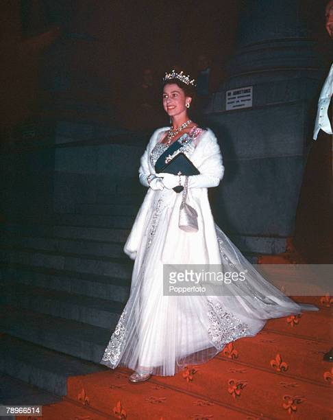 1954 Royal Tour of Australia Queen Elizabeth II is pictured leaving Parliament House Adelaide after attending a State Banquet