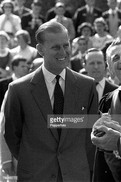 Royal Tour of Australia The Duke of Edinburgh shows great interest at a rabbit being shown to him during a visit to the University of Western...
