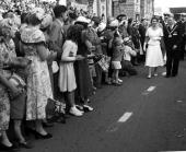 Royal Tour of New Zealand 19 January 1954 Queen Elizabeth II of the United Kingdom takes a walk along the length of Broadway Stratford where...