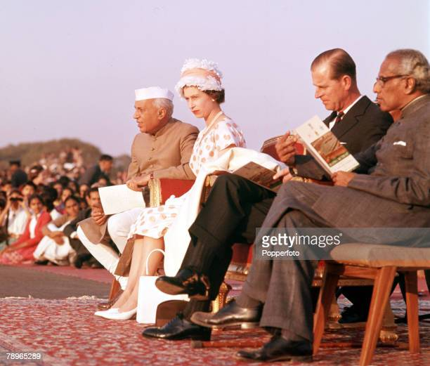 1961 Royal Tour to India Queen Elizabeth II and Prince Philip the Duke of Edinburgh are pictured with Prime Minister Jawaharlal Pandit Nehru and...
