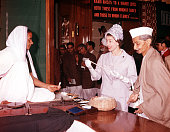 1961 Royal Tour to India Queen Elizabeth II is pictured visiting a crafts centre in Delhi