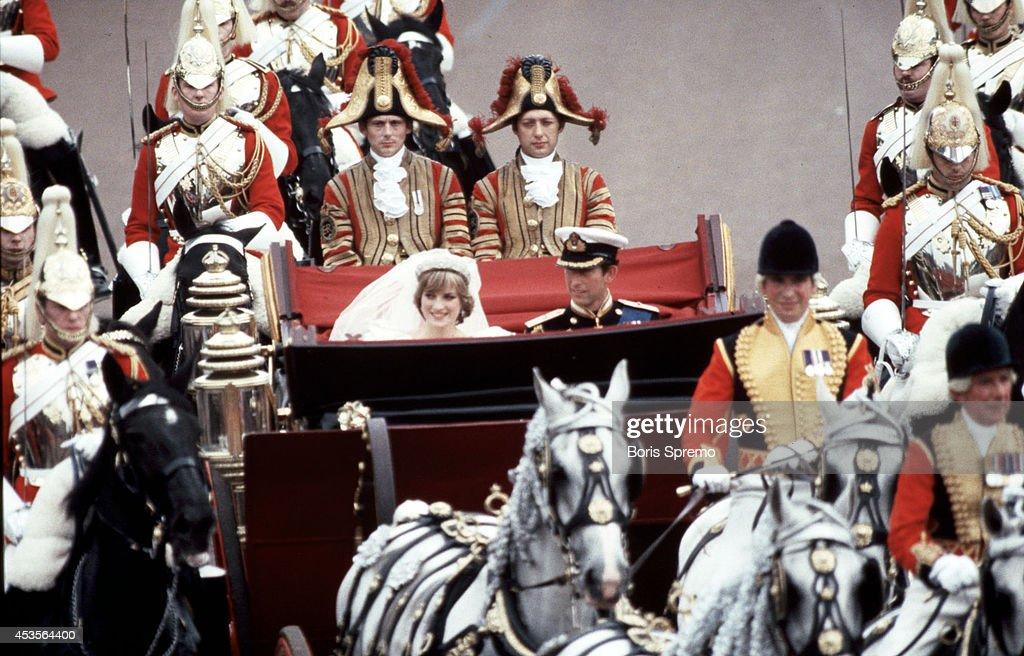 Royal Wedding. Photo of Diana Princess of Wales and Prince Charles taken by Boris Spremo July 29, 1981.