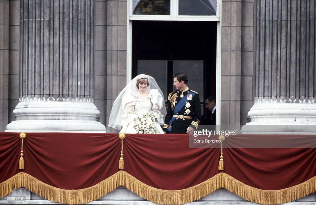 Royal Wedding. Photo of Diana Princess of Wales and Prince Charles taken by Boris Spremo July 29, 1981.